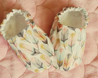 Reversible Baby Shoes, The Coyote Collection, Feathers