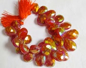 BIG Focal Fiery Colorful Mystic Titanium Brazilian Carnelian Briolette  Beads 1/2Strand 18mmTo 25mm 631 Carats