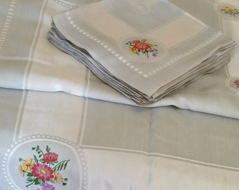 1950s Silver Grey Damask Tablecloth, 12 Napkins, Flower Bouquet Embroidered Designs, Lg 64x104