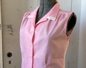 1950s Pink Sleeveless Cotton Blouse Cinched Waist Medium Large NOS