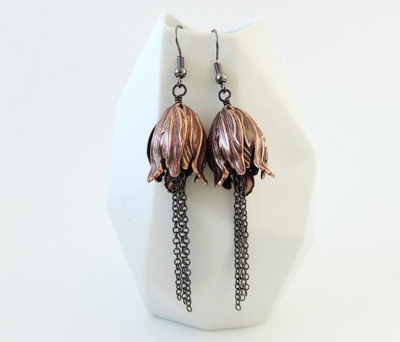 """Elegant Copper Tulip Flower & Tassel Earrings - """"First Days of Autumn"""""""