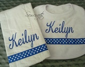 Keilyn Personalized Bib and Burp Set-Name and/or up to 3 initials
