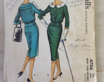 McCalls 4706 Vintage 50s Sewing Pattern // Suit Skirt Jacket // Size 16 Bust 36--wiggle pattern
