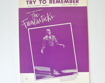 1960s vintage sheet music--Try To Remember from the musical The Fantasticks---Harry Belafonte--music by Harvey Schmidt / wall art