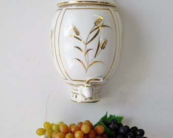 vintage gold and white Lefton China Handpainted wall decor with grapes / 1960s vintage home decor