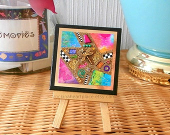 """Original Mixed-media Collage on 3"""" x 3"""" canvas, abstract collage, microbead collage, Bits n' Pieces style, with wooden easel for display"""