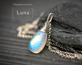Luna -Large Rainbow Moonstone Briolette Wire Wrapped Sterling Silver Necklace
