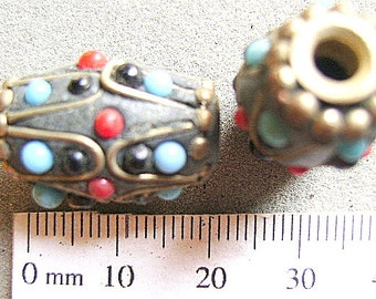 BEADS, SILVER, TUBE, Ethnic,  20x15mm, Tribal, Beach, Focal, Sale, Tibet, Coral, Turquoise