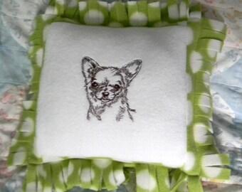 Chihuahau Machine embroidered dog decorative  pillow12x12 Fleece