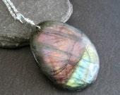 Purple & Pink Labradorite Pendant, Genuine Stone Jewelry, Natural Rock Necklace