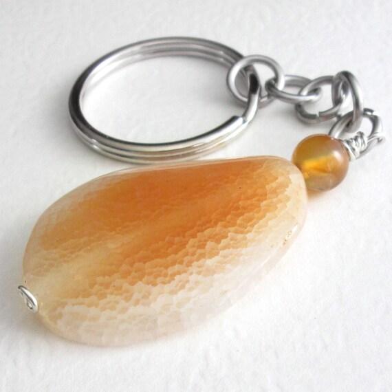 Crab Fire Agate Key Chain, Peach Stone Key Ring, Semi Precious Gemstone