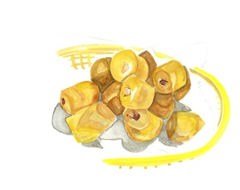 Donut Hole Basket with Jelly and Cream-Filling Original Watercolor Painting