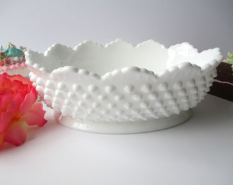 Fenton Milk Glass Hobnail Oval Serving Bowl - Lovely Vintage