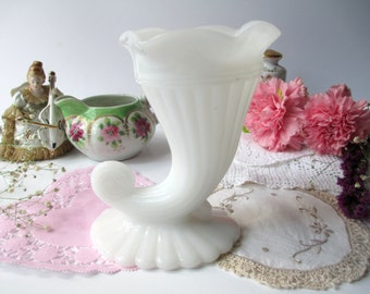 Vintage Milk Glass Cornucopia Vase - Unique and Lovely