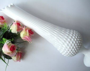 Tall Vintage Fenton Milk Glass Hobnail Footed Swung/Handkerchief Vase