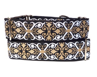 "1.5"" martingale dog collar or tag / buckle collar, CAMELOT Black and Tan, Safety Collar, Greyhound Collar, Sighthound Collar, Adjustable"