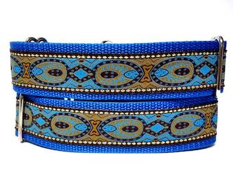 Martingale Dog Collar or Tag / Buckle Dog Collar THE EMPERORS Blue, Safety Collar, Greyhound Collar, Sighthound Collar, Adjustable