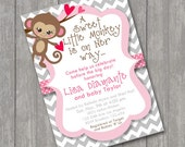 Little Monkey Baby Girl Shower Invitations Invite You Print Personalized Chevron Polka dot Ribbon Customized 5x7 or 4x6