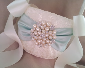 Mint Green Ivory Flower Girl Basket Flower Girl Basket Pearl Rhinestone Accent Wedding Basket Unique