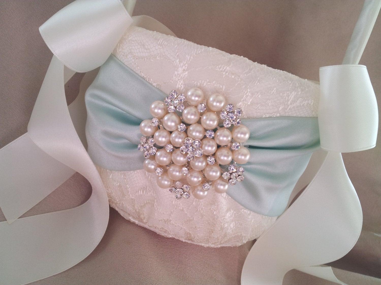Flower Girl Baskets Green : Mint green ivory flower girl basket pearl