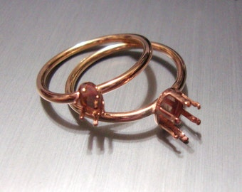 Ring blank -  prong setting - Gold Filled - custom made in your size  14k /20 - 2 mm 3mm,4mm,5mm,6mm,8mm,10mm,6x4 mm, 7x5,8x6 mm One