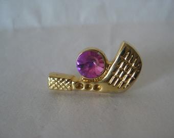Golf Club Pink Rhinestone Gold Tie Tack Vintage Pin
