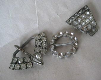 3 Shabby Rhinestone Silver Buckles Vintage Clear