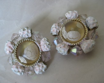 Pink White Aurora Clear Champaign Earrings Clip Vintage