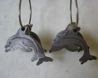 Dolphin Sterling Earrings Pierced Wire Vintage Dangle 925 Silver