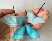 Soft - Handmade Cotton and Silk Organza Blue Shades Butterflies Hair Bobby Pin - 3 pieces