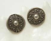 Large Sterling Etruscan Earrings Rustic Handmade Vintage Jewelry E6624