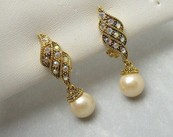 Rhinestone Earrings Pearl Drop Vintage Jewelry E6554