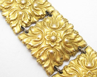 Wide Panel Bracelet Ornate Repousse Metal Work Vintage Jewelry B6603