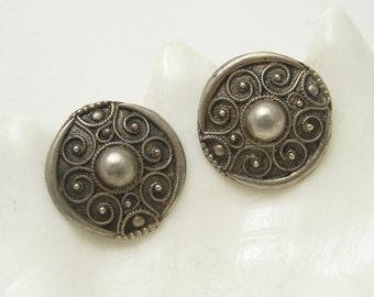Large Sterling Etruscan Earrings Rustic Handmade Vintage Jewelry E6624