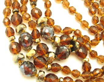 Long Glass Bead Necklace Vintage Flapper Jewelry Brown Glass N6667
