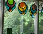 Stained Glass, Peacock Feather, Garden Art, Decorative Colored Mirror, Wind Chime