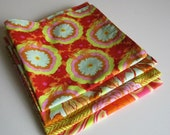 Everyday Cloth Napkins Cotton 16 x 16 inches square mixed bright prints orange and pink