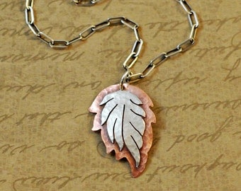 "Sterling silver and copper leaf charm, 3/4 x 1-1/8"", necklace, pendant, sawed, soldered, rustic, nature, whimsical, branch, tree, organic"