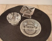 Three petite old pressed glass serving dishes for one price- instant vintage collection!