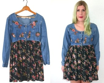 20 DOLLAR SUPER SALE! Womens Denim Dress - Green Floral Dress - 90s Grunge Dress