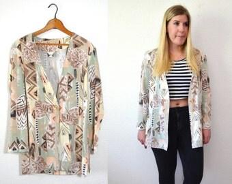 Womens Blazer - Tribal Jacket - Light Jacket- Long Blazer