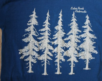 Estes Park Colorado Snow Covered Trees Large Vintage Tshirt