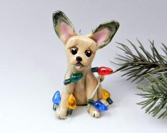 Chihuahua Fawn Sable Christmas Ornament Figurine Lights Porcelain