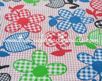 Gingham Daisies and Tulips- Vintage Fabric Fun New Old Stock Novelty Checked
