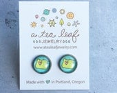 Oregon state with heart illustrated post earrings