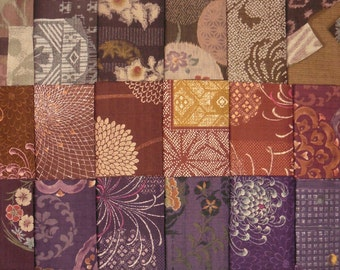 Japanese cotton fabrics - 18 brown, burgundy and purple dobby fat quarters