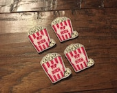 SALE Set of 4 Popcorn Embroidered Felt Appliqués Felties