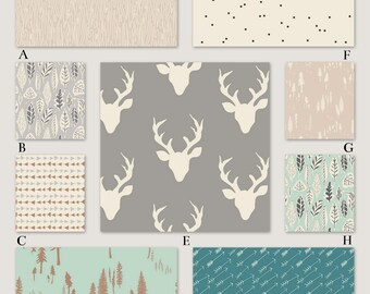 Woodland Tribal Baby Bedding in Gray, Mint, Beige and Turquoise - Gentle Woods Collection