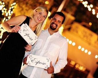 ESPOSO and ESPOSA Wedding Signs - Matrimono - Photo Props, Single Sided set of 2 -  12x6 each