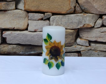 Hand Painted White Candle with Sunflowers